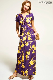 HotSquash Purple Floral Short Sleeved Empire Line Maxi Dress