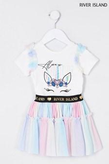 River Island Pink Printed Tutu T-Shirt Set