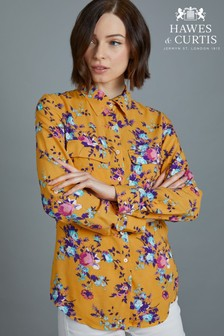 Hawes & Curtis Blue Mustard Floral Relaxed Fit Shirt