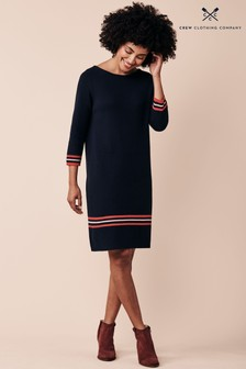 Crew Clothing Company Blue Tipped Milano Dress