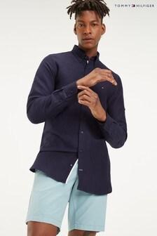 Tommy Hilfiger Blue Slim Linen Viscose Shirt
