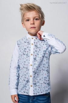 Angel & Rocket Blue Doodle Panelled Shirt