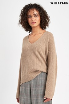 Whistles Camel V-Neck Rib Wool Neck Sweater