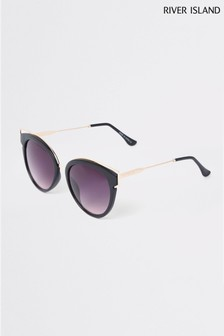 River Island Black Cat Eye Gold Cut-Out Detail Sunglasses