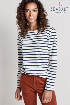 Seasalt Sailor Shirt Breton Ecru Night