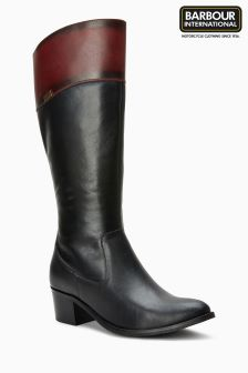 Barbour® International Black Brown Cuff Burbank Tall Boot