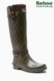Barbour® Olive Green Lindisfarne Quilted Wellington Boot