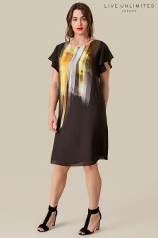 Live Unlimited Black Flutter Sleeve Tunic With Placement Print