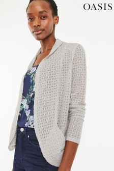 Oasis Grey Lace Drape Cardigan