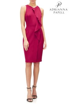 Adrianna Papell Pink Sheath With Front Frill