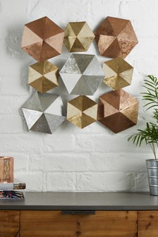 Mixed Metal Hexagonal Small Wall Plaque