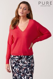 Pure Collection V Neck Dolman Sleeve Sweater