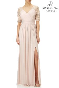 Adrianna Papell Pink Stretch Tulle Gown