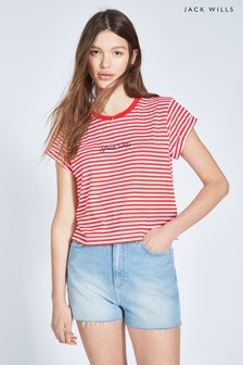 Jack Wills Red/White Milsom Cropped T-Shirt