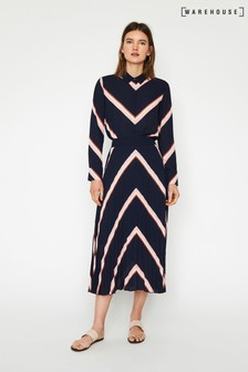 Warehouse Blue Chevron Pleated Midi Skirt