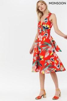 Monsoon Ladies Red Jessie Print Fit And Flare Midi Dress