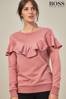 BOSS Pink Ruffle Detail Sweater