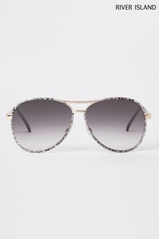 River Island Gold Tone Snake Print Aviator Sunglasses