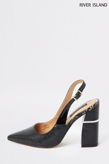 River Island Black Block Heel Court