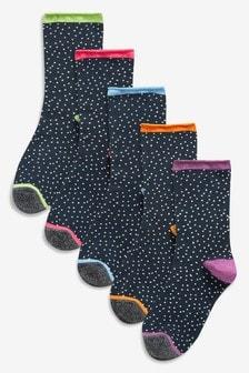 Spot Pattern Ankle Socks Five Pack
