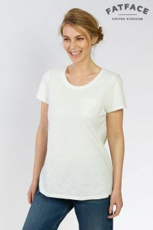 FatFace White Frida Broderie Back Tee