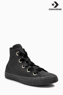 Converse Black Leather Big Eyelet Hi Top