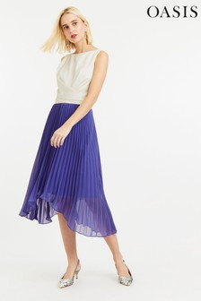 Oasis Blue Pleated Midi Dress