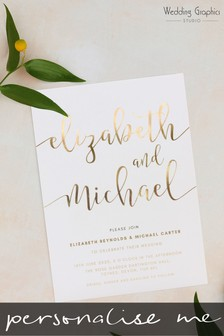 Personalised Script Foil Invitation by Wedding Graphics
