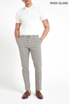 River Island Neutral Check Skinny Ecru Heritage Trouser