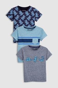 Kurzarm-T-Shirts mit Dino-Motiv, 3er-Pack (3Monate bis 6Jahre)
