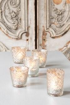 Set of 5 Mercury Glass Tealight Holders