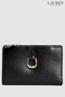 Črna usnjena torbica Lauren Ralph Lauren®
