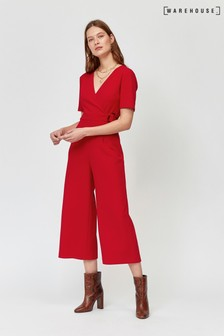 86b689724d76 Warehouse Red Wrap Front Jumpsuit