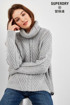 Superdry Grey Cable Knit Jumper