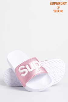 Superdry White And Pink Pool Sliders