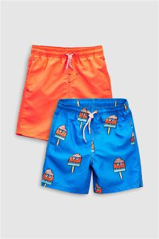 Ice Lolly Print Swim Shorts Two Pack (3-16yrs)