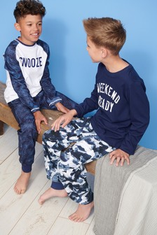 Camo Slogan Pyjamas Two Pack (3-16yrs)