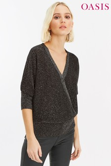 Oasis Silver Briony Wrap Jumper