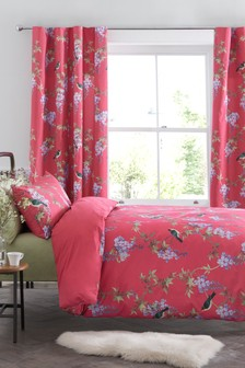 Cotton Sateen Embroidered Effect Bright Birds Bed Set