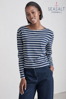 Seasalt Sailor Shirt Breton Night Ecru