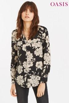 Oasis zwart opvallend overhemd met bloesem