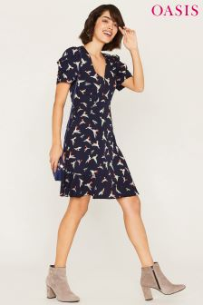 Oasis Blue Bird V Neck Drape Sleeve Dress