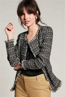Tweed Effect Boxy Jacket