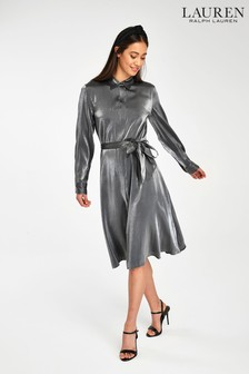 Lauren Ralph Lauren® Grey Metallic Whitnie Shirt Dress