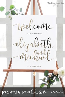 Personalised Small Foiled Script Wedding Sign by Wedding Graphics