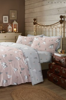Fusion Fluffy Penguin Christmas Brushed Cotton Flannel Duvet Cover and Pillowcase Set