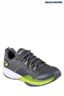 Skechers® Grey Clear Track Lighweight Lace Translucent Midsole Shoe
