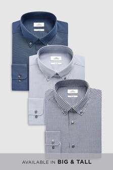 Check And Texture Shirts Three Pack