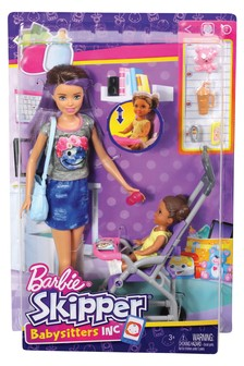 Barbie Babysitting Playset With Doll And Bouncy Stroller
