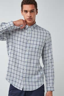 Long Sleeve Pure Linen Check Shirt
